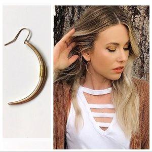Copper Crescent Moon Gold Wire wrap Hook Earrings